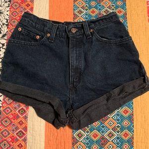 Levis darkwash cutoff shorts